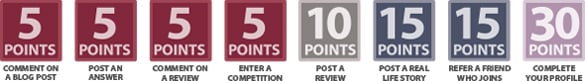 5 POINTS: comment on post, post an answer, comment on a review, enter a competition. 10 POINTS: post a review. 15 POINTS: post a real story or refer a friend. 30 POINTS: complete your profile.