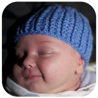 Crocheted baby beanie for a bonnie little boy.
