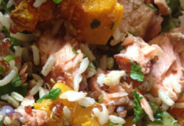 Roast vegetable Quinoa salad with smoked salmon fillets