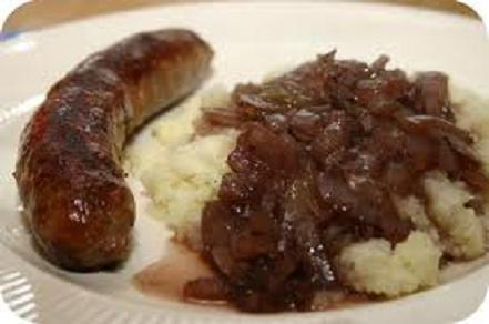 Sausages with Onion Gravy