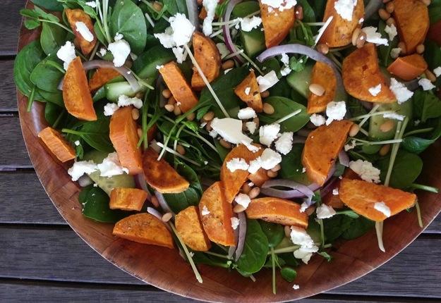 Sweet Potato, Spinach and Feta Salad