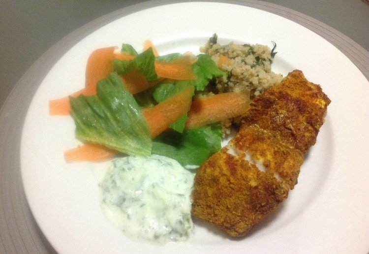 Moroccan fish with homemade tzatziki real recipes from mums for Moroccan fish recipe