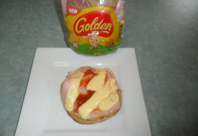 Ham, Cheese & Relish on Golden Crumpet with Oats