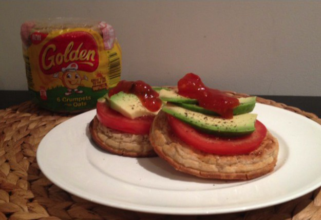 Tomato, Avo and Chilli Relish on Golden® Crumpets with Oats
