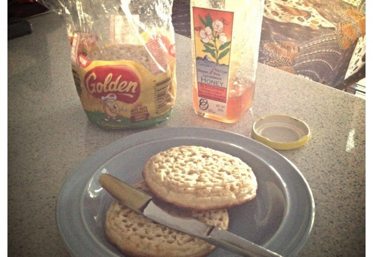 Organic honey on Golden Crumpets with Oats