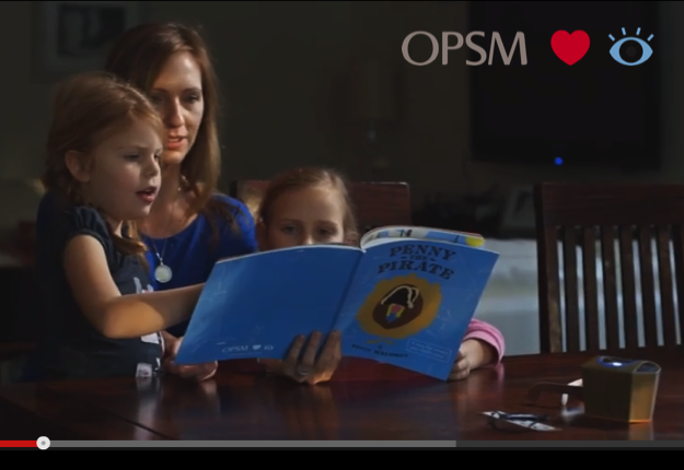 Deb uses Penny the Pirate OPSM Kids Book with her daughters to screen their vision