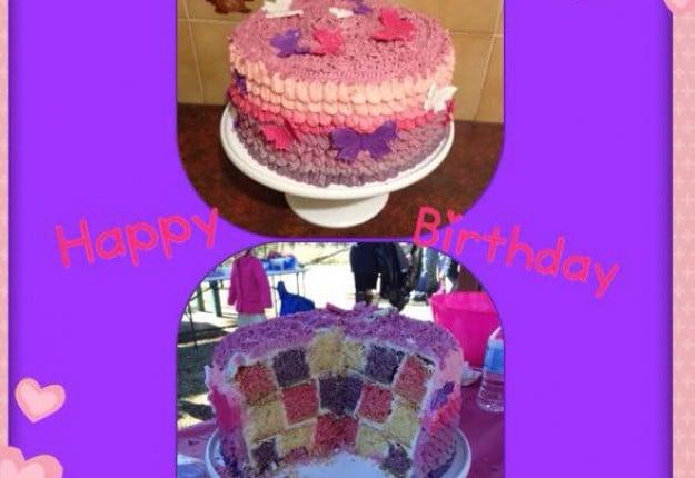 Checkerboard Ombre Ruffles Cake