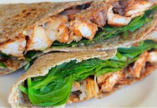 BBQ chicken cheese and spinach wrap