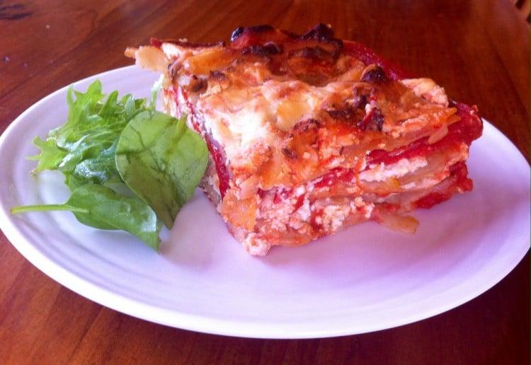 Roasted red capsicum lasagna