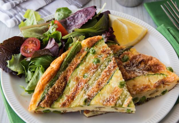 Spring frittata and salad