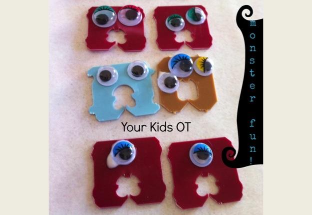 Monster clips for toddler play