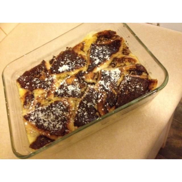 Choc hazelnut bread and butter pudding