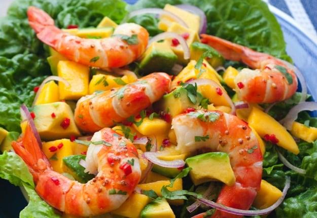 Prawns with mango and avocado salad