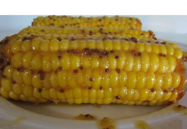 Mustard and honey corn on the cob