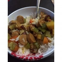 Rainbow curried sausages