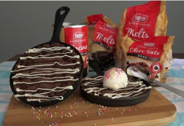 Nestle Triple Chocolate 'Skookie' (a cookie cooked in a skillet pan)