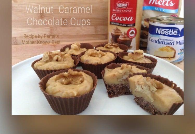 Walnut Caramel Chocolate Cups