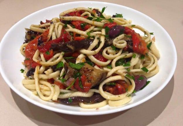 Roasted Capsicum & Eggplant with Tagliatelle Pasta