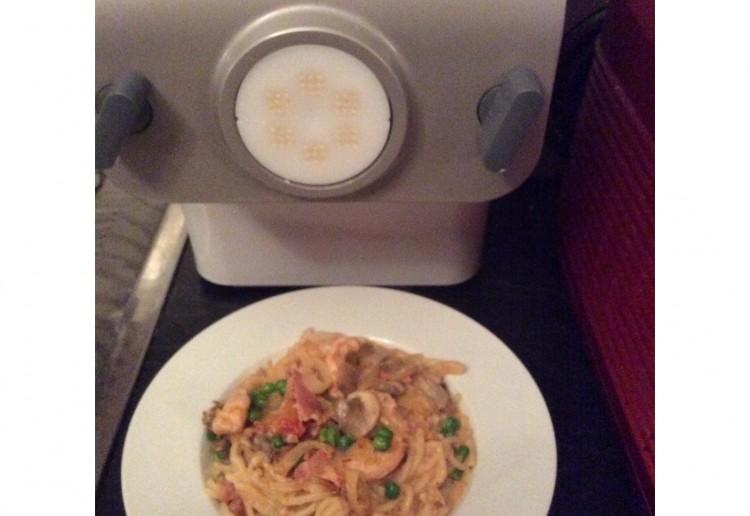 Spaghetti Creamed Chicken