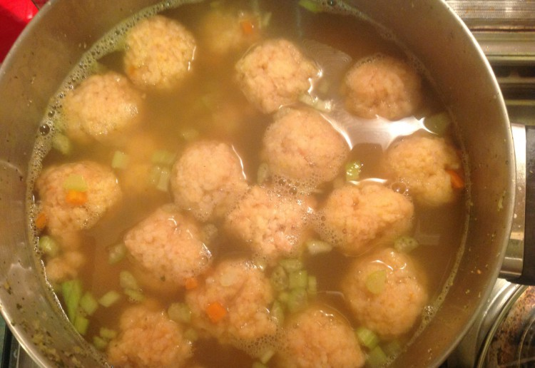 Chicken soup with rice dumplings