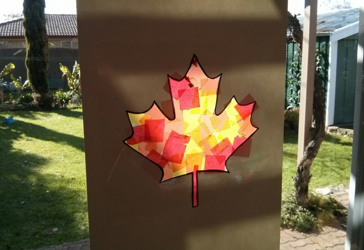 Autumn leaf stained glass picture