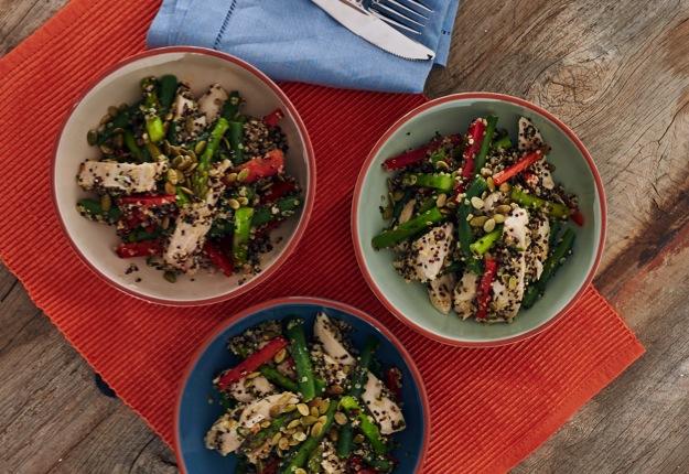 Zoe's chicken quinoa salad with orange vinaigrette