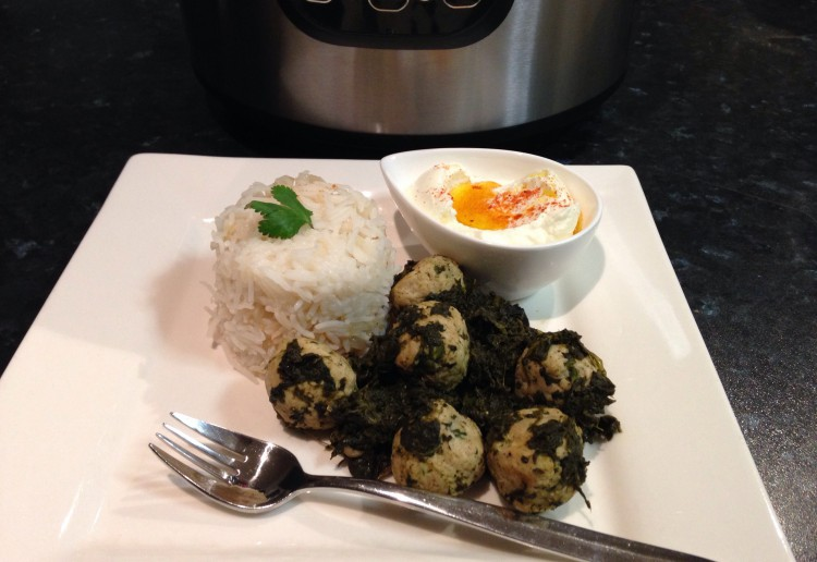 Chicken meatballs with spinach