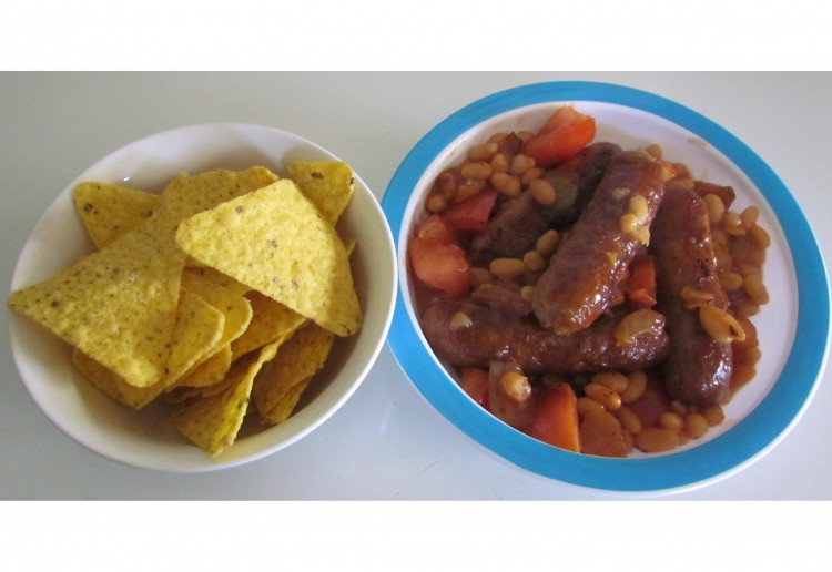 Cheeky chipolatas with corn chips