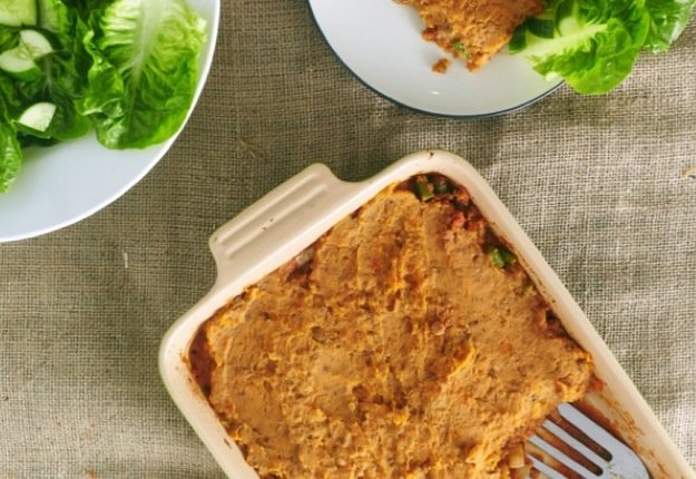 Zoe's lamb and vegetable samosa pie with sweet potato and lentil top