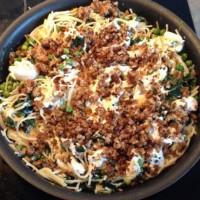Pea, ricotta and garlic spaghetti