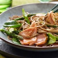 Soba Salad with Salmon and Asparagus