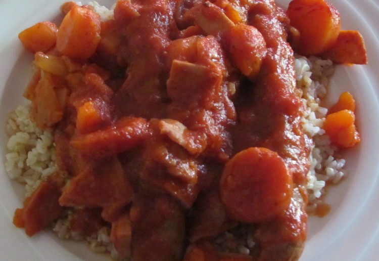 Slow cooker – rustic sausages, bacon, sweet potatoes and carrots