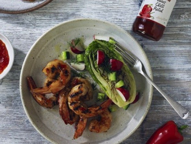 Spicy marinated prawns with Baxters sweet chilli relish