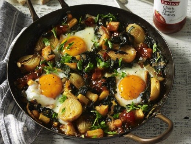 Baked eggs with Baxters classic tomato chutney