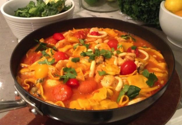 Seafood Marinara with Silken Tumeric Noodles