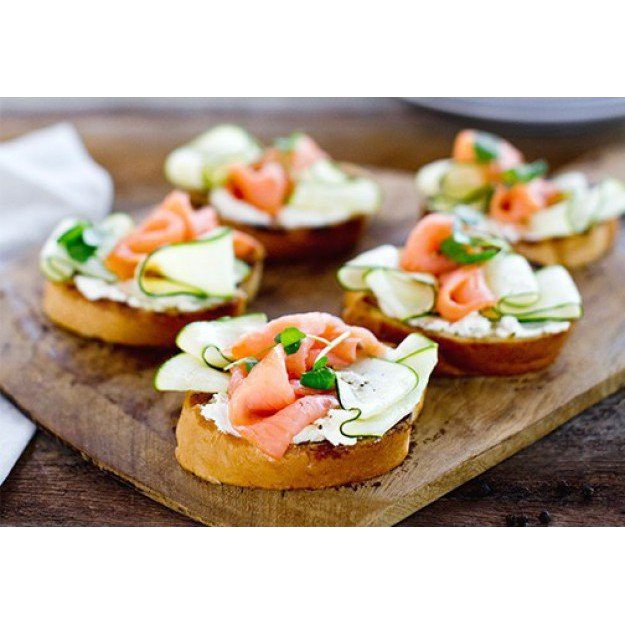 BBQ'd Entertainer Slices with goats curd, smoked salmon and zucchini!