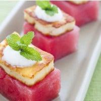 Haloumi and watermelon bites