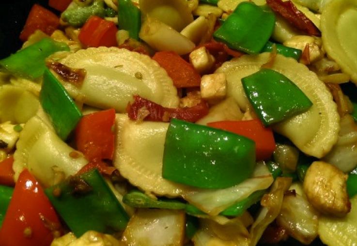 Agnolotti with Asian veggies