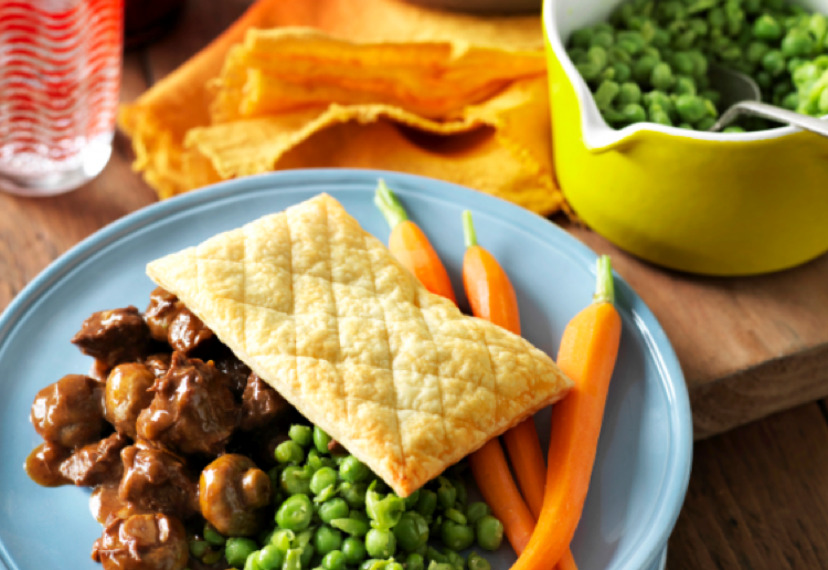 Steak and Stout Pies with Smashed Peas