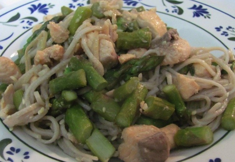 Salmon, asparagus and soba noodles