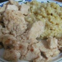 Aromatic rice and satay chicken