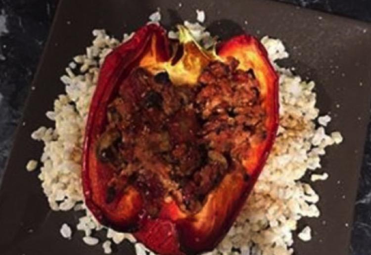 Healthy stuffed spicy capsicum