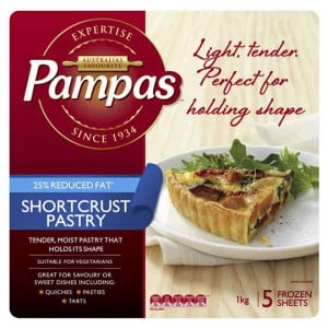 Pampas Shortcrust Pastry 5 Sheets 25% Reduced Fat