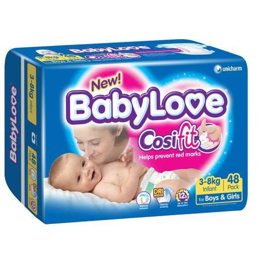 Babylove Cosifit Nappies Infant 3-8kg Bulk