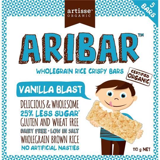 Artisse Organic Aribar Wholegrain Rice Crispy Bars Vanilla Blast