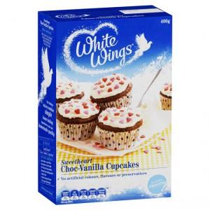 White Wings Cupcake Mix Sweetheart Choc-vanilla