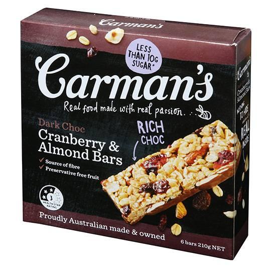 Carman's Dark Choc Cranberry & Almond Muesli Bars