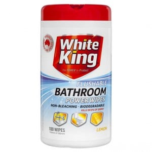 White King Power Clean Bathroom Cleaner Wipes Flushable
