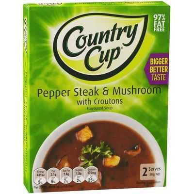 Country Cup Instant Soup Pepper Steak & Mush Croutons