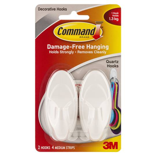 Command Quartz Hooks Medium White